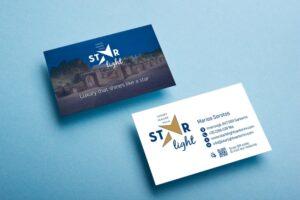 Σχεδιασμός επαγγελματικών καρτών 2 όψεων από γραφίστα για βίλλα στη Σαντορίνη