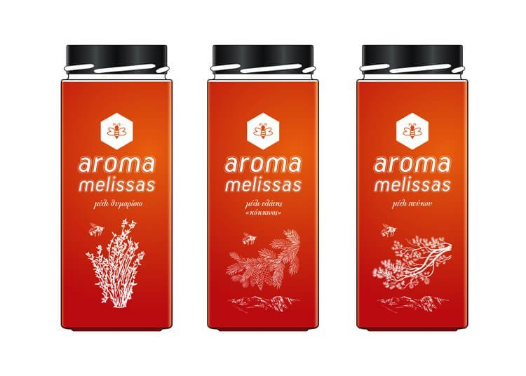 Σχεδιασμός συσκευασίας μελιού AROMA MELISSAS σε ψηλό βάζο